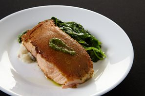 Parmesan crusted salmon available at Waypoint Kitchen